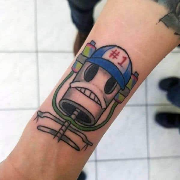 Guy With Spongebob He Was Number One Tattoo Design