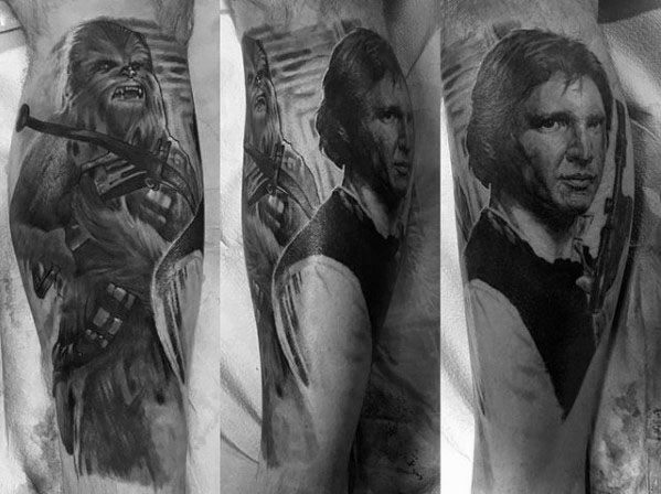 Guy With Star Wars Han Solo Tattoo Design On Leg