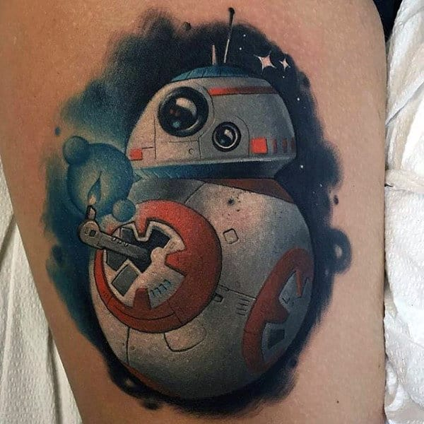 Guy With Star Wars Video Game Tattoo Watercolor Ink Design