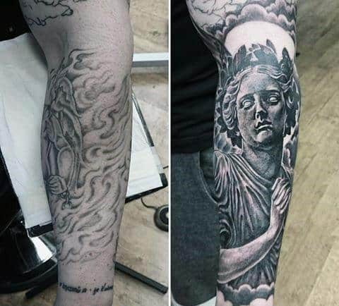 Guy With Statue Cover Up Forearm Sleeve Tattoo