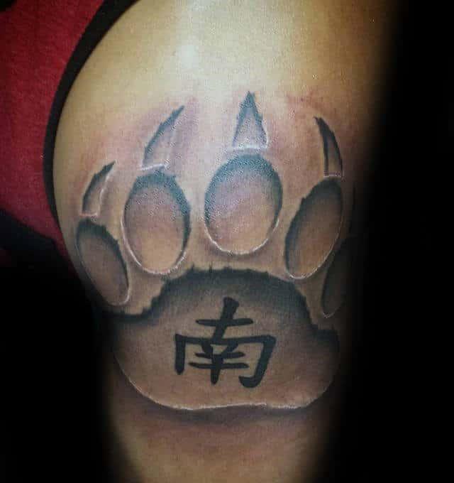 Guy With Stone Bear Claw Arm Tattoo