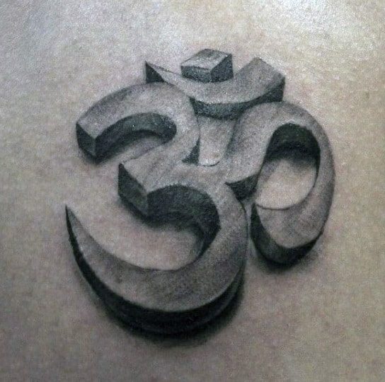 Guy With Stone Om Tattoo On Back