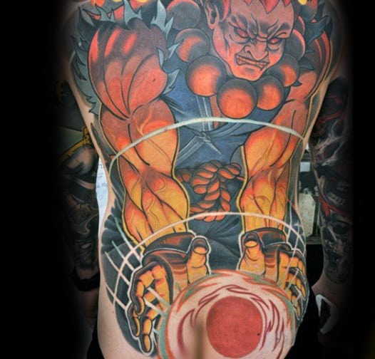 Guy With Street Fighter Full Back Tattoo Design