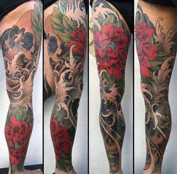 Guy With Sweet Japanese Full Leg Sleeve Tattoo Design