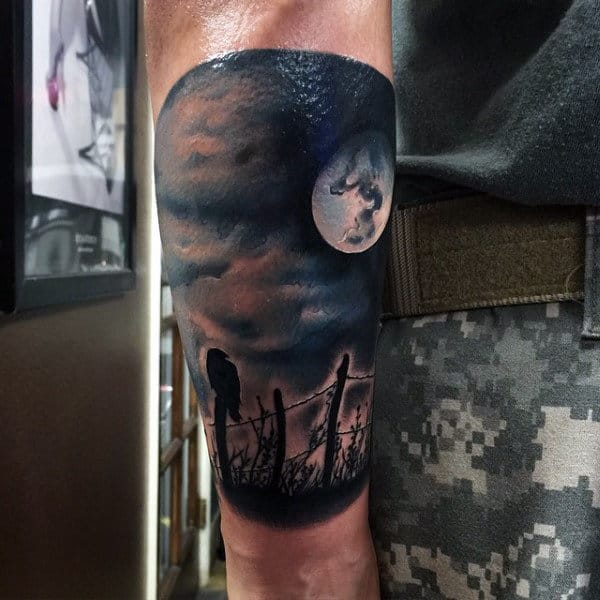 Guy With Tattoo Hawk Watching Over Full Moon Forearm