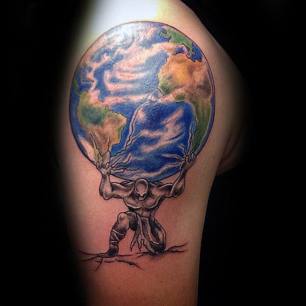 Guy With Tattoo Of Atlas Holding Earth On Upper Arm