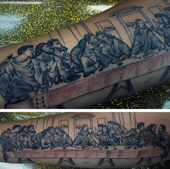 Guy With Tattoo Of Last Supper Jesus Design