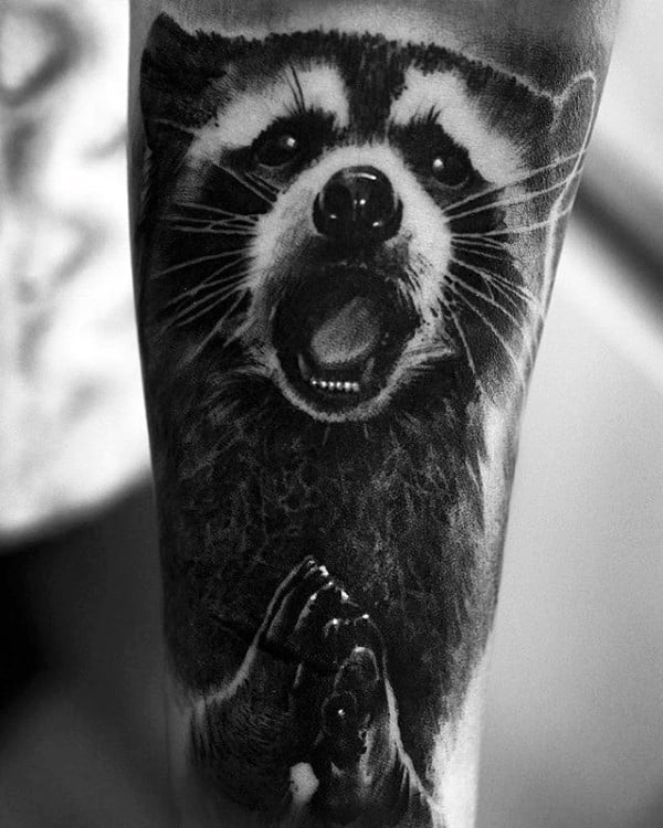Guy With Tattoo Of Raccoon Sleeve Design