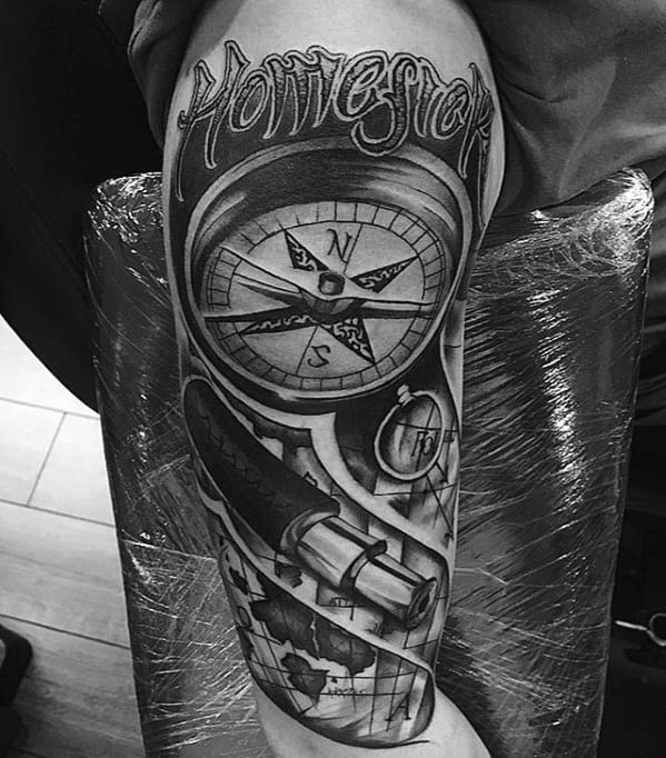Guy With Telescope And Compass Arm Tattoo Design