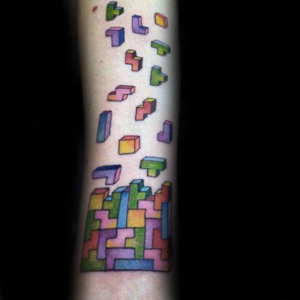 Guy With Tetris Tattoo Design Inner Forearm