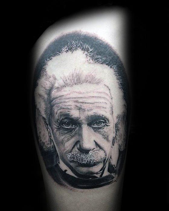 Guy With Thigh Albert Einstein Tattoo Design