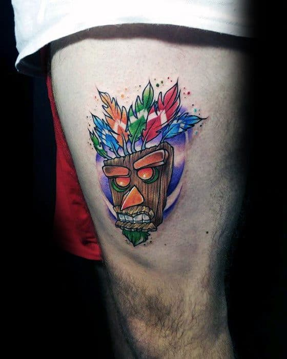Guy With Thigh Video Game Crash Bandicoot Tattoo Design