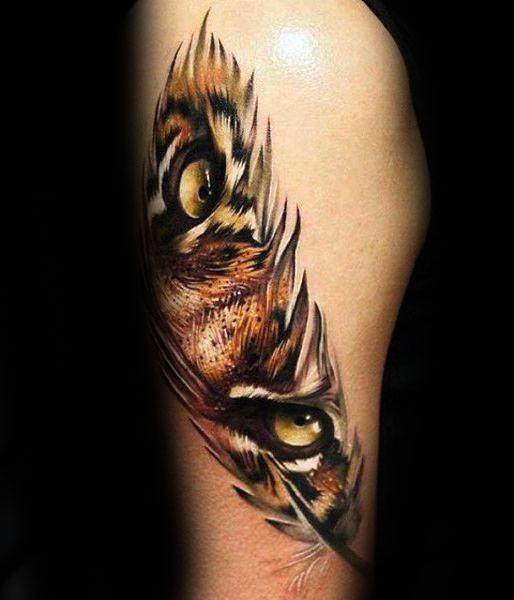 Guy With Tiger Eyes Tattoo Design