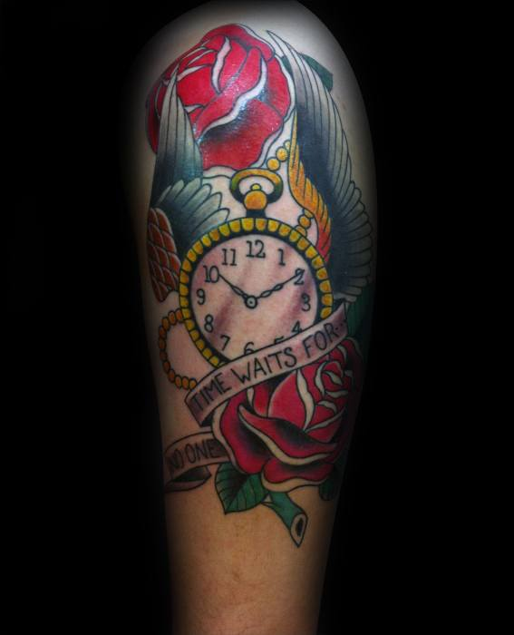 Guy With Time Waits For No Man Tattoo Design