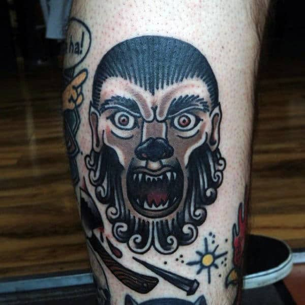 Guy With Traditional Design Werewolf Tattoo On Forearm