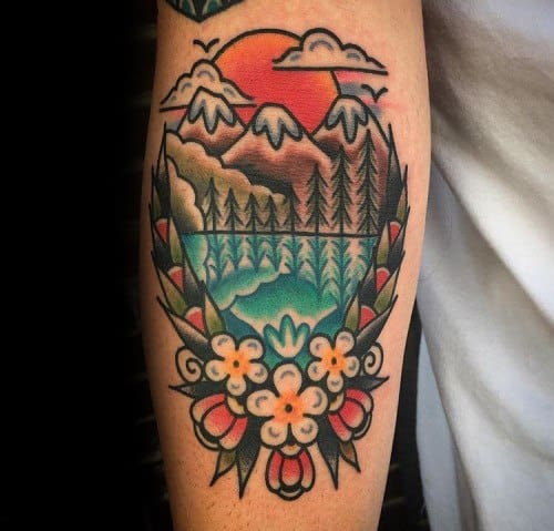 Guy With Traditional Mountain Tattoo Design