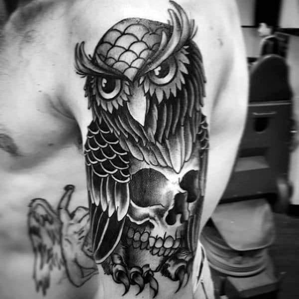Guy With Traditional Owl And Skull Arm Shaded Tattoo