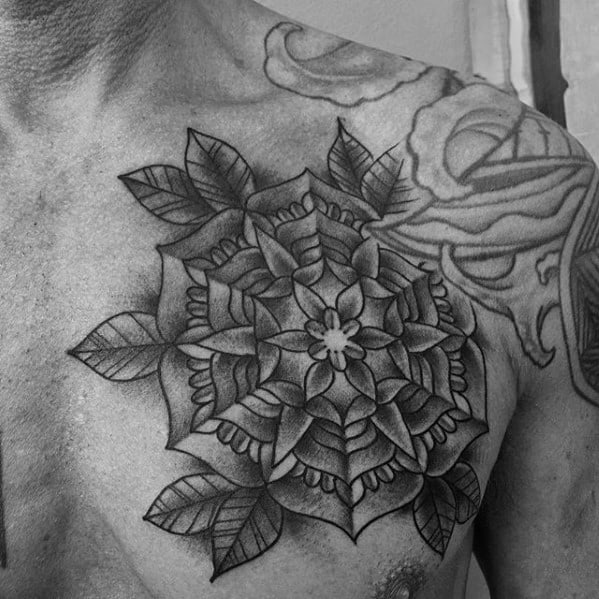 Guy With Traditional Shaded Black And Grey Flower Chest Tattoo