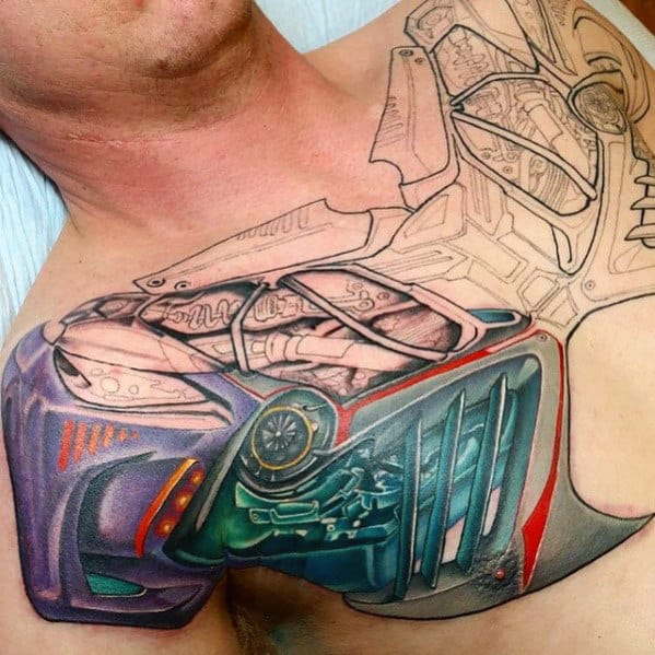 Guy With Transformers 3d Upper Chest Tattoo