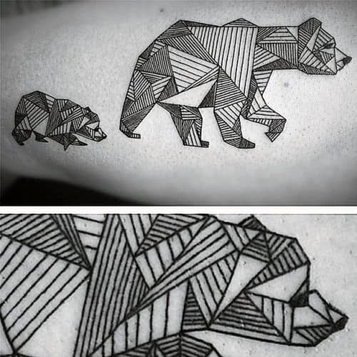Guy With Two Geometric Bears Tattoo On Arm