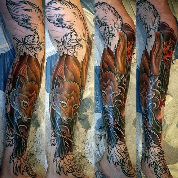 Guy With Ultimate Brown Fox Tattoo On Legs