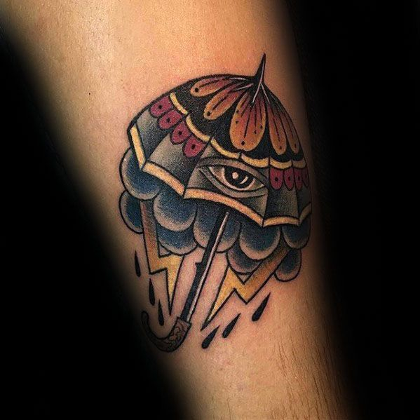 Guy With Umbrella Eye Storm Forearm Tattoo Design