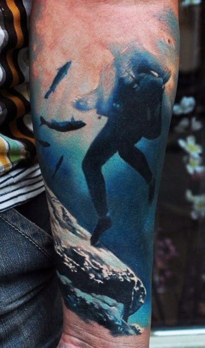 Guy With Underwater Diver Realism Tattoo On Forearms
