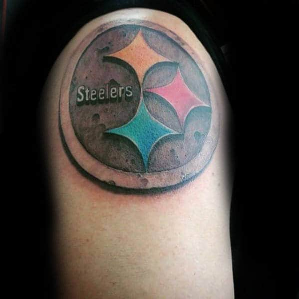 Guy With Upper Arm Pittsburgh Steelers Logo Tattoo