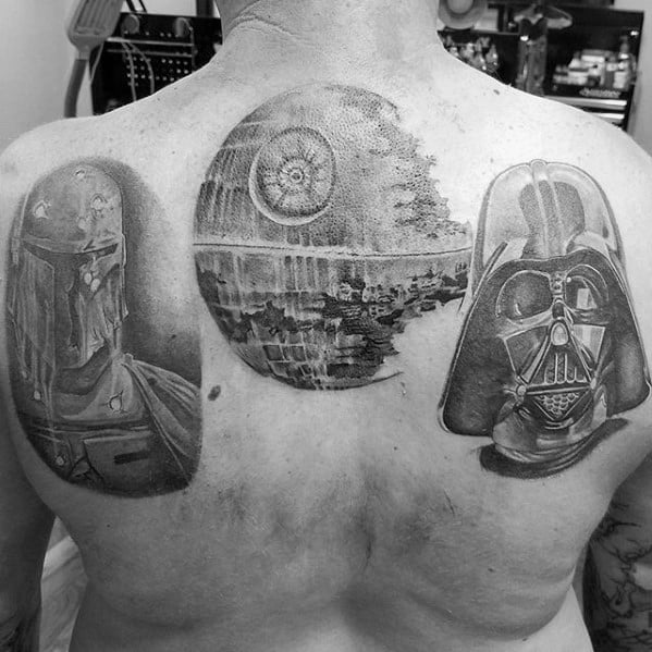 Guy With Upper Back Death Star Tattoo Design