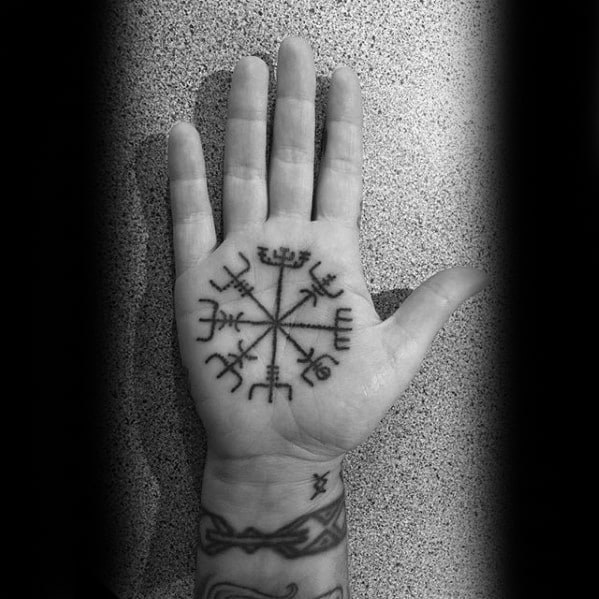 Guy With Viking Compass Palm Tattoo Designs