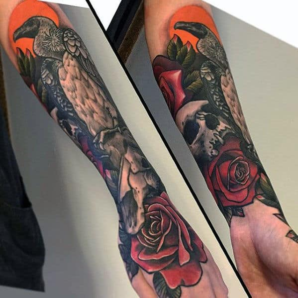 Guy With Vulture Skull And Rose Flower Forearm Tattoo