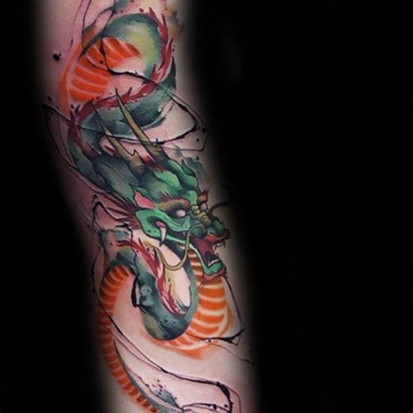 Guy With Watercolor Chinese Dragon Forearm Tattoo