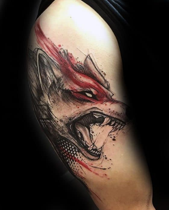 Guy With Watercolor Wolf Arm Gamer Tattoos