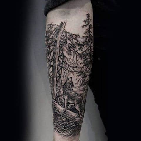 Guy With Wolf Howling In The Woods Tree Sleeve Tattoo