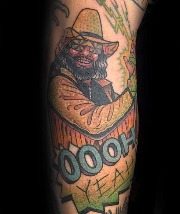 Guy With Wrestling Leg Tattoo Design