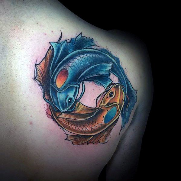 Guy With Yin Yang Koi Fish Tattoo Design On Shoulder Of Back