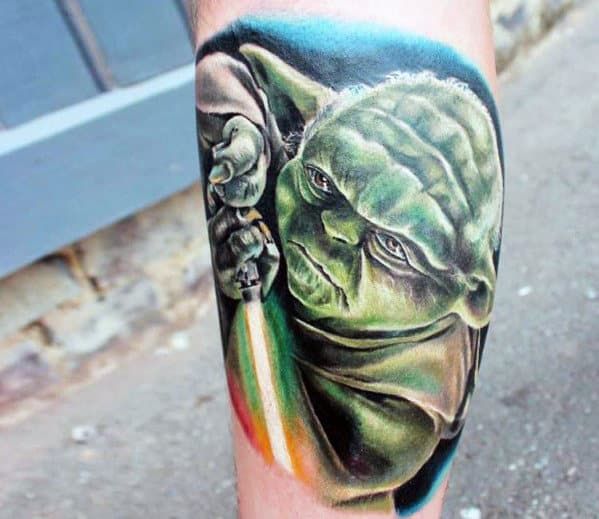 Guy With Yoda Tattoo Quarter Sleeve On Leg