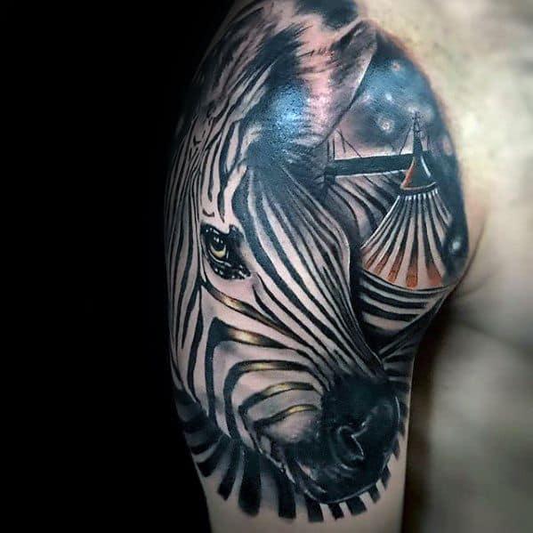 Guy With Zebra Stripes Circus Tent Quarter Sleeve Tattoo Design