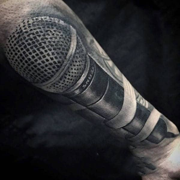 Guys 3D Black Mic Music Tattoos On Legs