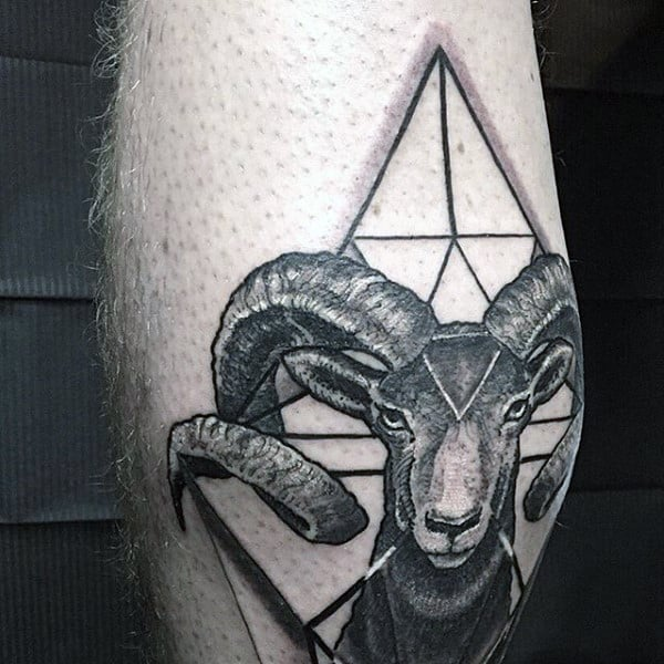 Guys 3D Goat Face With Triangle Tattoo