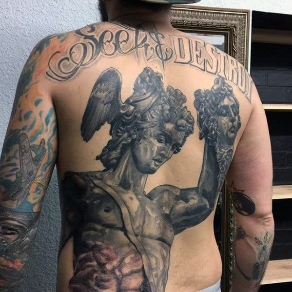 Guys 3d Back Perseus With Medusa Head Tattoos