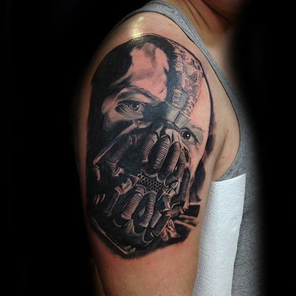 Guys 3d Bane Upper Arm Tattoo Inspiration