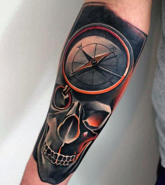 Guys 3d Compass And Skull Great Modern Forearm Sleeve Tattoo Ideas