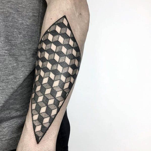 Guys 3d Cube Tattoo Ideas Geometric Forearm Designs