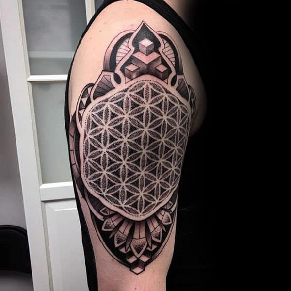 Guys 3d Flower Of Life Upper Arm Tattoo Designs
