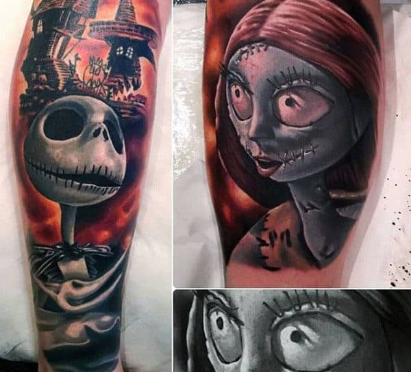 Guys 3d Jack And Sally Night Before Christmas Sleeve Tattoo