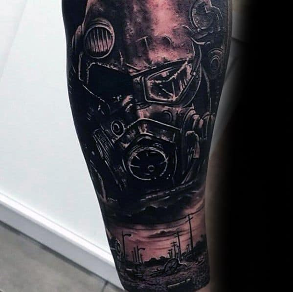 Guys 3d Leg Tattoo Ideas Fallout Designs