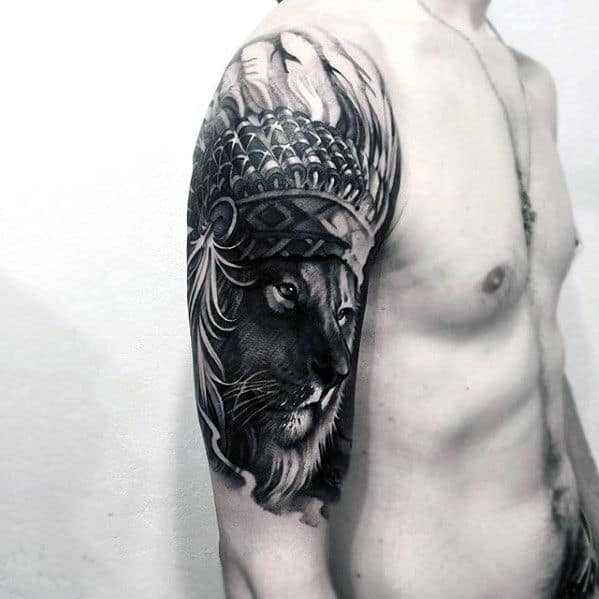 Guys 3d Lion With Indian Head Arm Tattoo