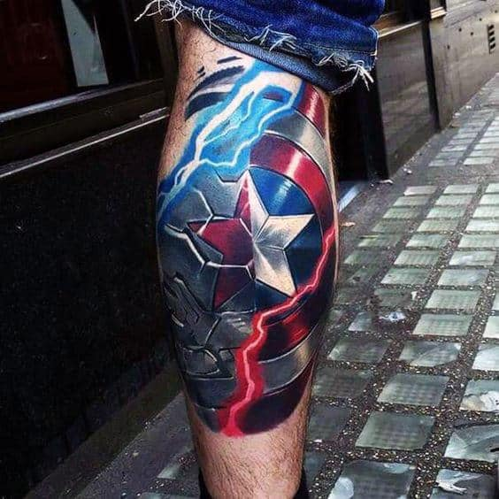Guys 3d Realistic Electric Captain America Shield Marvel Back Of Leg Tattoo