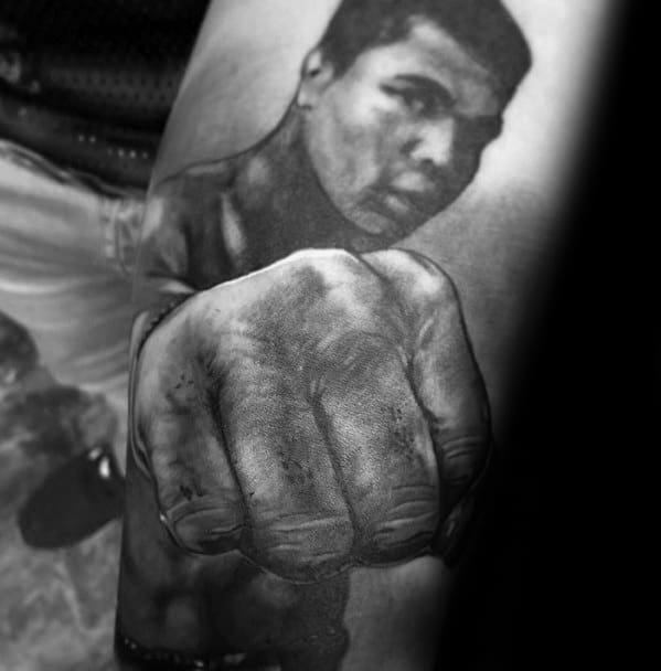Guys 3d Realistic Muhammad Ali Tattoo Design Ideas On Inner Forearm